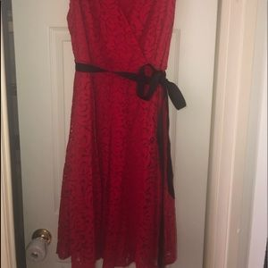 New red lace dress
